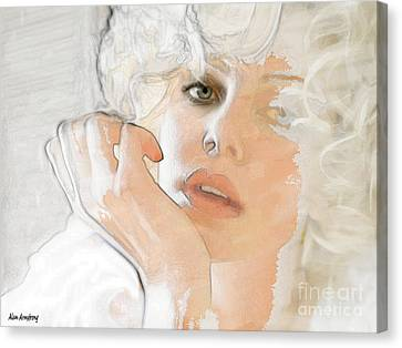 # 38 Charlize Theron Portrait Canvas Print by Alan Armstrong