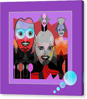 384 - Crazy Dollies Smiling Canvas Print by Irmgard Schoendorf Welch