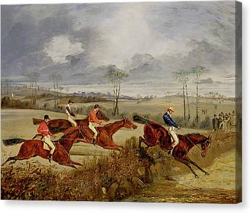 Thomas Canvas Print -  A Steeplechase - Near The Finish by Henry Thomas Alken