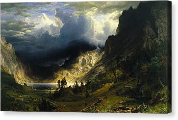 A Storm In The Rocky Mountains Mt. Rosalie Canvas Print by Albert Bierstadt
