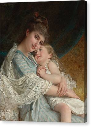 A Tender Embrace Canvas Print by Emile Munier