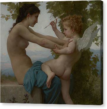 A Young Girl Defending Herself Against Eros Canvas Print