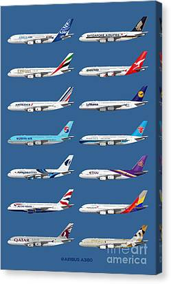 Airbus A380 Operators Illustration - Blue Version Canvas Print by Steve H Clark Photography