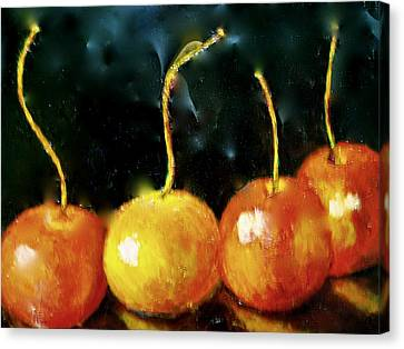 All Cherries In A Row Canvas Print by Marie Hamby