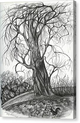 Canvas Print featuring the drawing  Autumn Dancing Tree by Anna  Duyunova