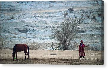 Balochi Shepherd In Pakistan Canvas Print by Akhtar H Khan