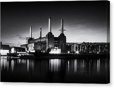 Battersea Power Station In Monochrome Canvas Print by Ian Hufton