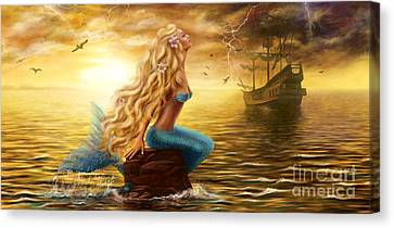 Beautiful Princess Sea Mermaid With Ghost Ship At Sunset Background Canvas Print by Alena Lazareva