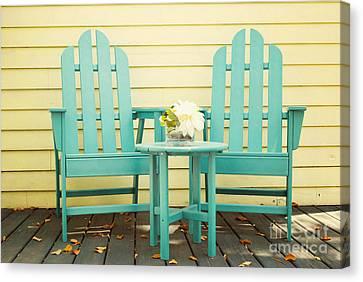 Empty Chairs Canvas Print -  Blue Adirondack Chairs  by Juli Scalzi