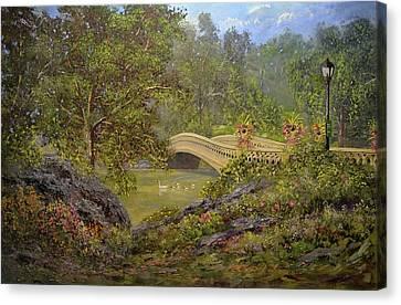 Bow Bridge Central Park Canvas Print by Michael Mrozik