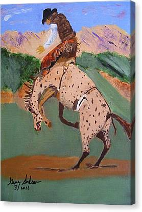 Bronco Rider On A Horse Canvas Print by Swabby Soileau