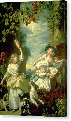 Bucoloic Painting By Honore Fragonard Canvas Print by Carl Purcell