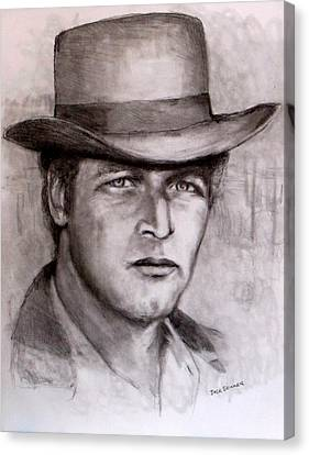 Canvas Print featuring the drawing  Butch Cassidy by Jack Skinner