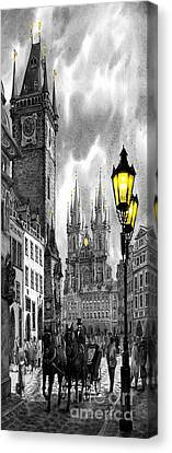 Old Canvas Print -  Bw Prague Old Town Squere by Yuriy  Shevchuk