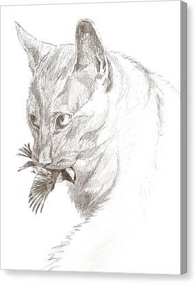 Cat And Chickadee Canvas Print