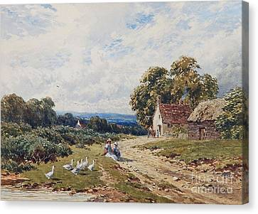 Children And Geese Before A Cottage Canvas Print by MotionAge Designs