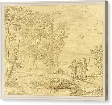 Christ And The Disciples On The Road To Emmaus Canvas Print by Celestial Images