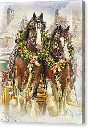 Canvas Print featuring the digital art  Christmas Clydesdales by Trudi Simmonds