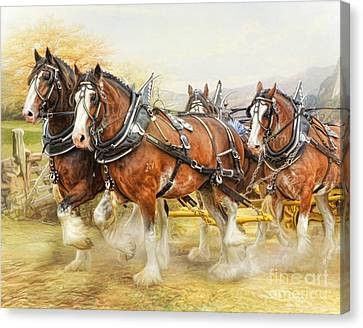Canvas Print featuring the digital art  Clydesdales In Harness by Trudi Simmonds