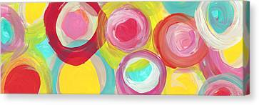 Colorful Sun Circles Panoramic Horizontal Canvas Print by Amy Vangsgard