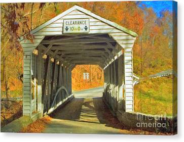 Canvas Print featuring the photograph  Covered Bridge Watercolor  by David Zanzinger