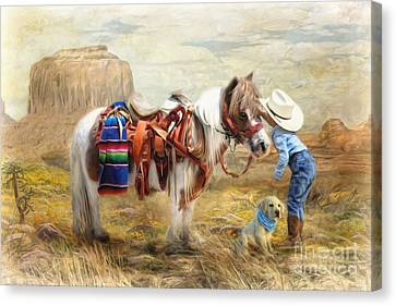 Canvas Print featuring the digital art  Cowboy Up by Trudi Simmonds