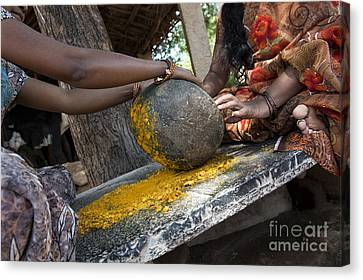 East Village Canvas Print -  Crushing Turmeric Roots To Powder by Tim Gainey