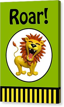 Cute Lion Roaring Canvas Print by Amy Vangsgard