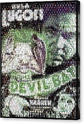 Canvas Print featuring the mixed media  Devil Bat Movie Poster Horror Mosaic by Paul Van Scott