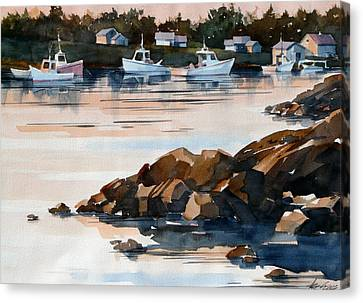 Docked At Dusk Canvas Print by Art Scholz