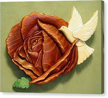 Dove On A Rose Canvas Print by Russell Ellingsworth