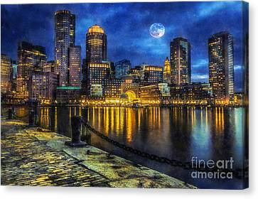 Downtown At Night Canvas Print by Ian Mitchell