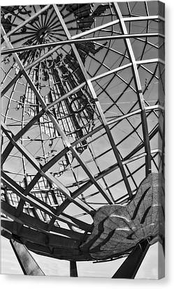 Earth Day - Nyc Unisphere Bw Canvas Print by Susan Candelario