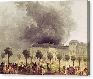 Fire At The Opera House Of The Palais Royal Canvas Print by Hubert Robert