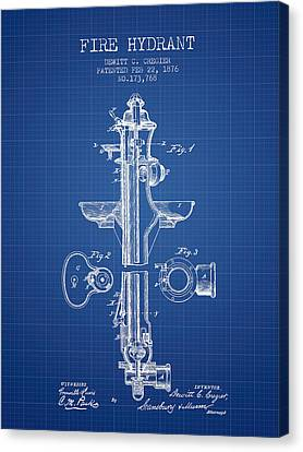 Fire Hydrant Canvas Print -  Fire Hydrant Patent From 1876 - Blueprint by Aged Pixel