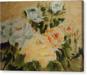 Canvas Print featuring the painting  Flower 0727-3 by Dongling Sun