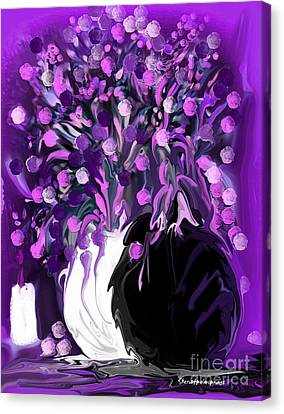 Flower Art Love Purple Flowers  Love Pink Flowers Canvas Print