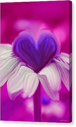 Canvas Print featuring the photograph  Flower Heart by Linda Sannuti