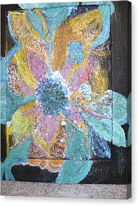 Flowover Flowers Uncropped  Canvas Print by Anne-Elizabeth Whiteway
