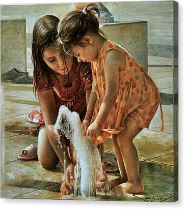 Fountain, Balatonfured Canvas Print by Arthur Braginsky