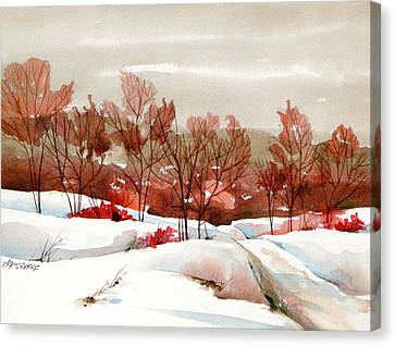 Frosted Red Canvas Print by Art Scholz