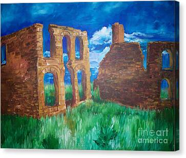 Canvas Print featuring the painting  Ghost Town  by Eric  Schiabor