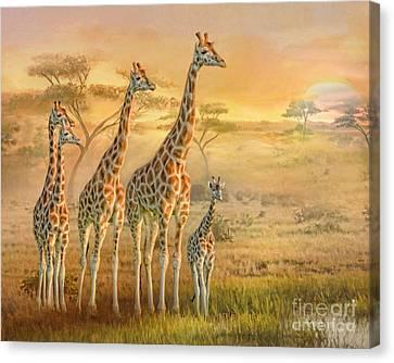 Canvas Print featuring the digital art  Giraffe Family by Trudi Simmonds