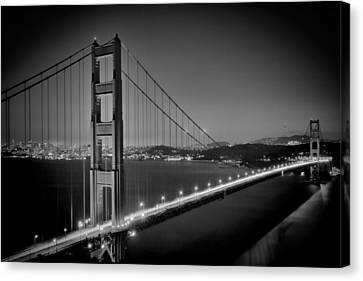 Golden Gate Bridge At Night Monochrome Canvas Print by Melanie Viola