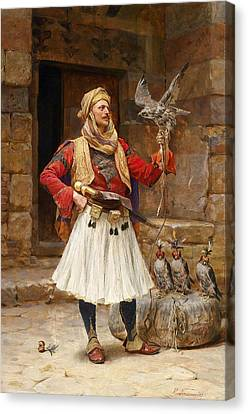 Greek Soldier And Patriot Canvas Print