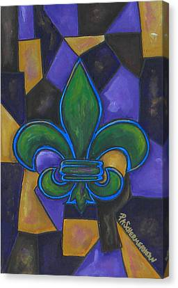 Green Fleur De Lis Canvas Print by Patti Schermerhorn
