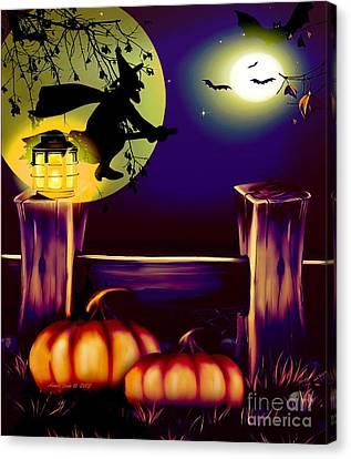 Halloween Witches Moon Bats And Pumpkins Canvas Print