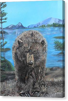 Hello Grizzley Bear Canvas Print