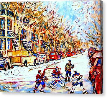 Hockey Game On Colonial Street  Near Roy Montreal City Scene Canvas Print