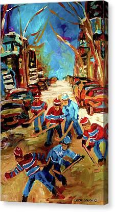 Hockey Paintings Of Montreal St Urbain Street Winterscene Canvas Print by Carole Spandau